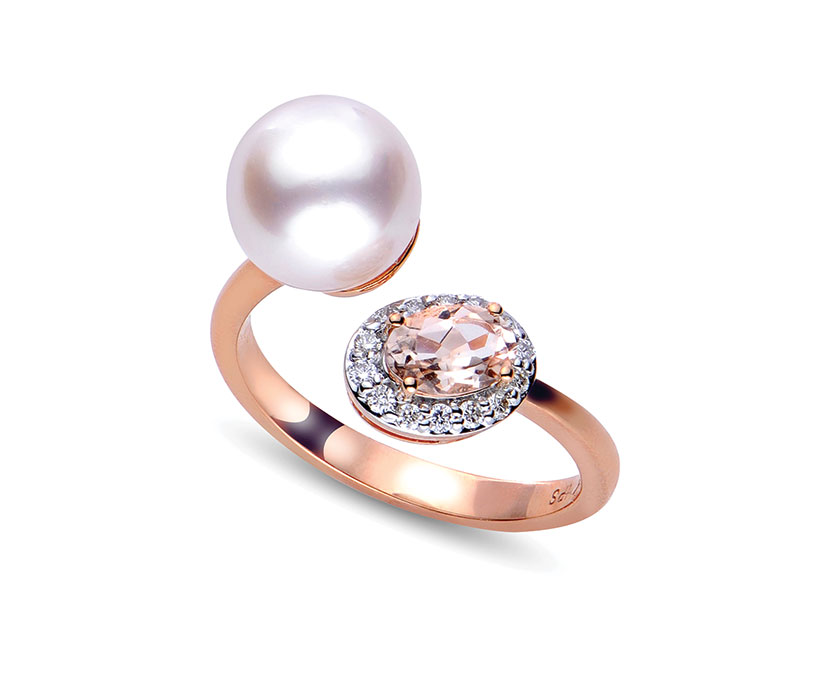 Imperial Pearl Akoya cultured pearl in 14K rose gold with morganite and diamonds