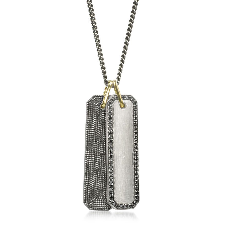 925Suneera Jewelry Raya bar pendant with signature texture in black rhodium-finished sterling silver and a 14K gold bale