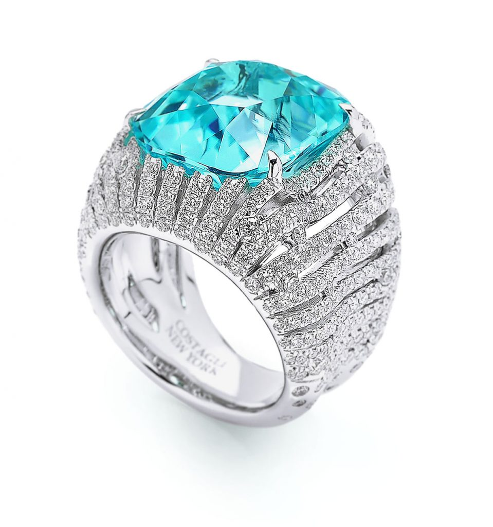 Paolo Costagli New York cushion-shape 15.06-carat Paraiba tourmaline ring