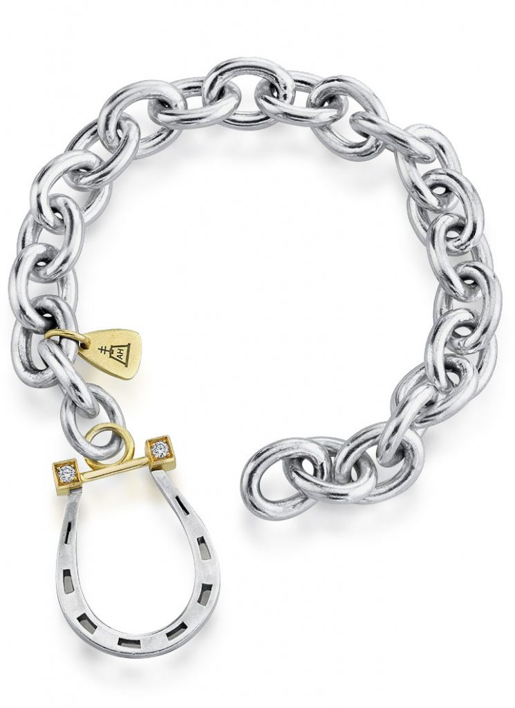 Anabel Higgins Sterling silver link bracelet featuring 18K yellow gold large horseshoe clasp with diamonds