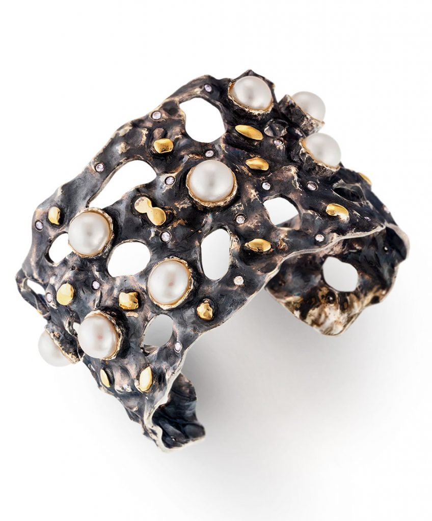 Brenda Smith oxidized sterling silver cuff bracelet with 14K yellow gold accents, freshwater pearls and diamonds