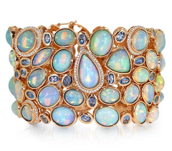 Yael Designs cuff bracelet featuring Ethiopian white opals, Santa Maria aquamarines, and diamonds set in 18K rose gold