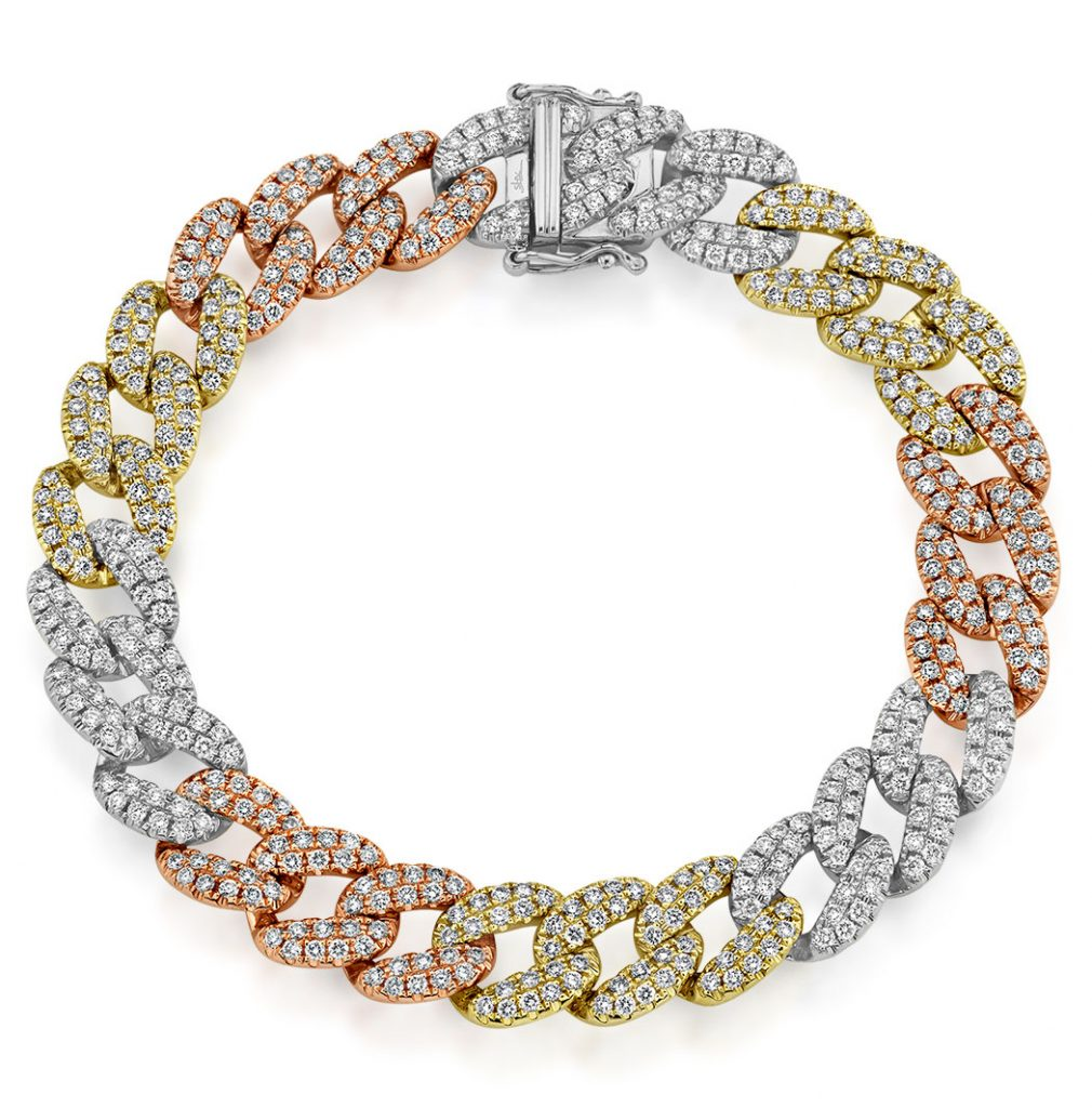 Shy Creation 14K tri-color gold chain bracelet with diamonds