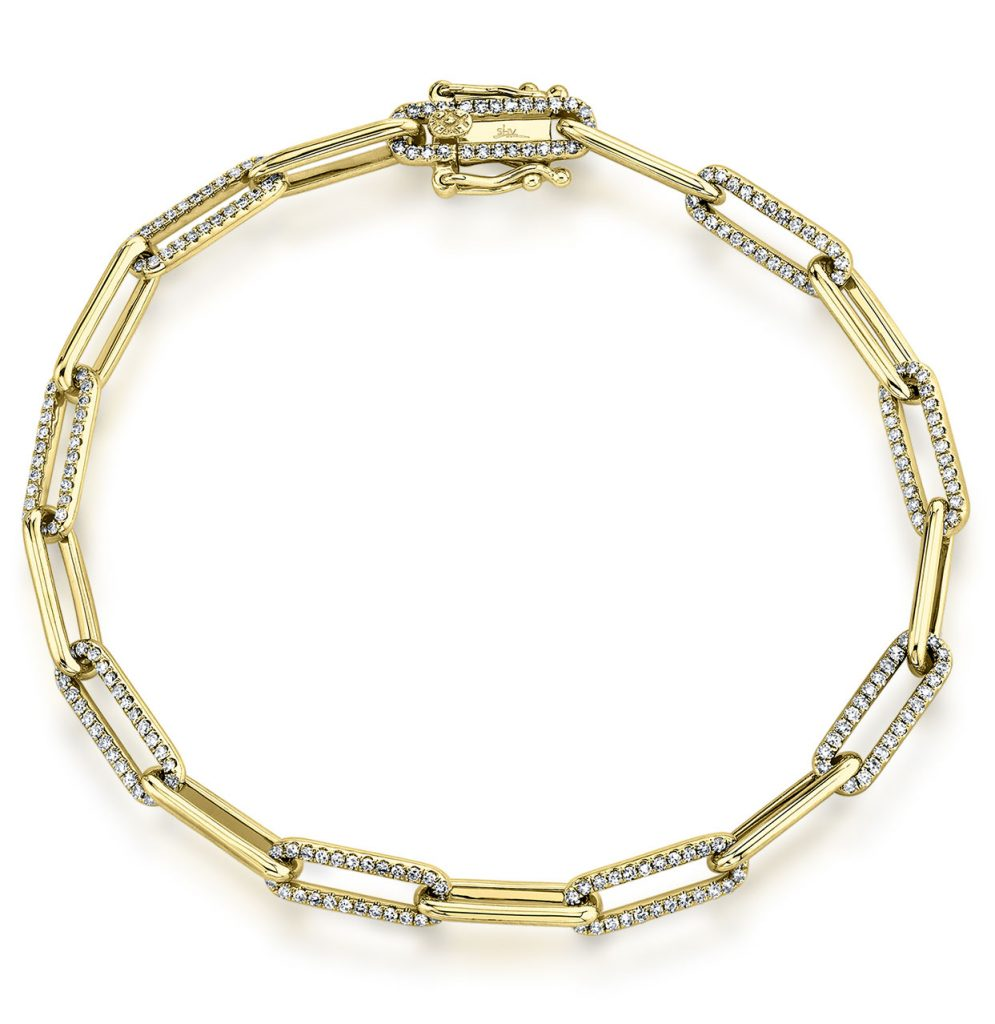 Shy Creation paperclip chain bracelet with diamonds mounted in tri-tone 14K gold