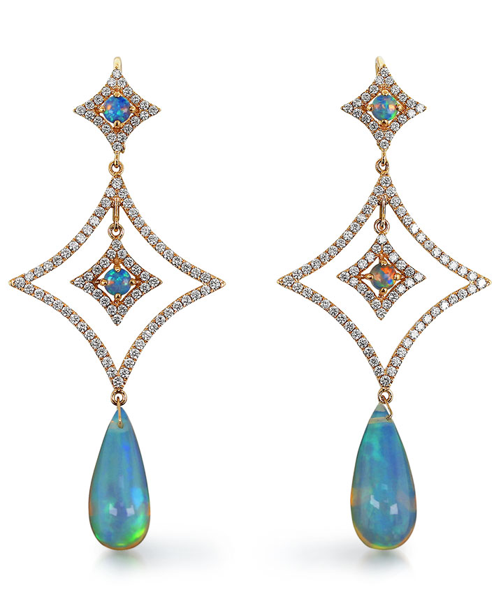 Yael Designs18K rose gold earrings featuring Ethiopian white opal drops, round Ethiopian white opals and diamonds
