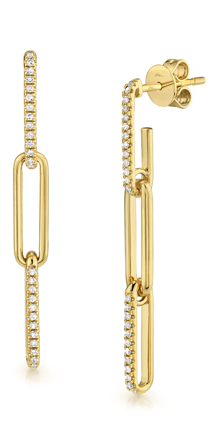 Shy Creation 14K gold contemporary paperclip drop earring with diamonds