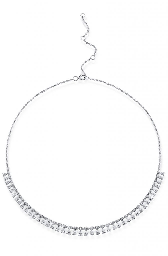 Shy Creation 14K white gold necklace with round and pear shape diamonds