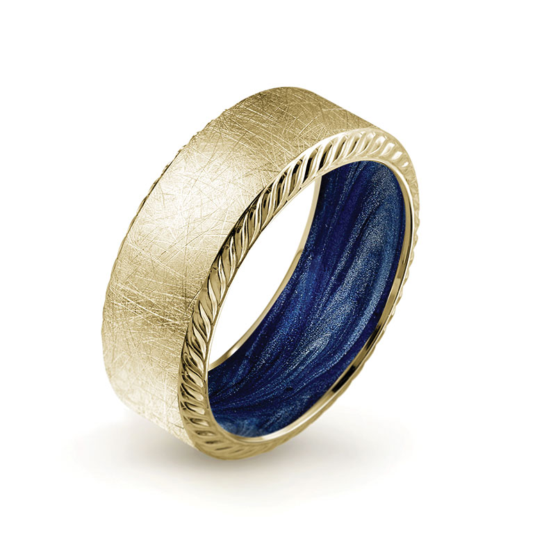 Bleu Royale 14K yellow gold with diamond brushed finish, rope edges and hand-painted midnight blue enamel