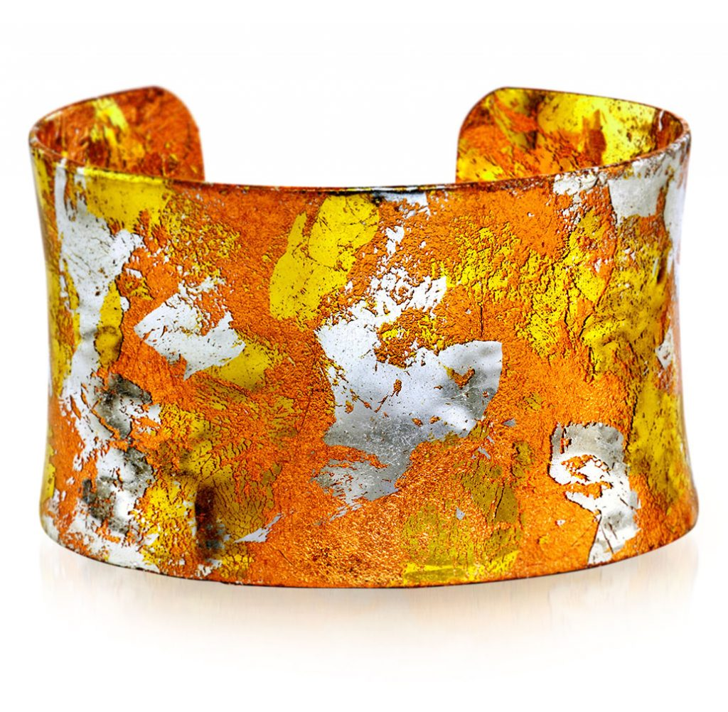 Évocateur cuff with 22K gold leaf and sterling silver leaf