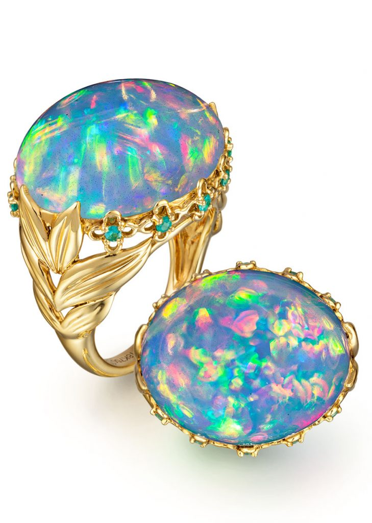 Philip Zahm 15.20-carat oval Ethiopian opal in 18K yellow gold with Brazilian Paraiba tourmaline melee