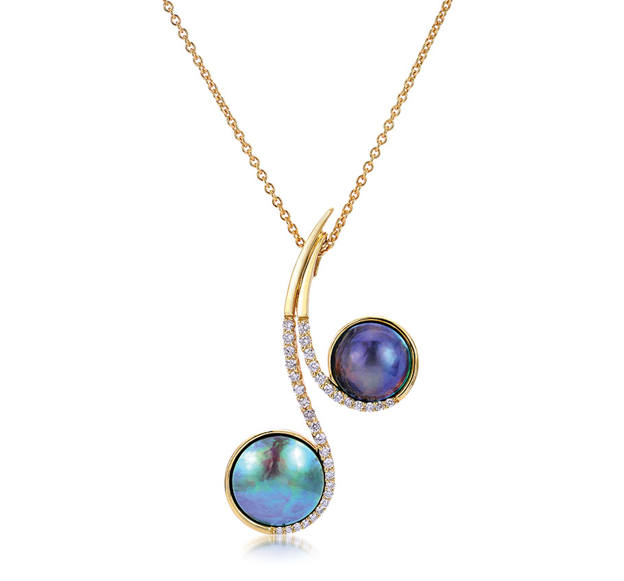 Imperial Pearl Two Eyris blue pearls in 18-inch pendant
