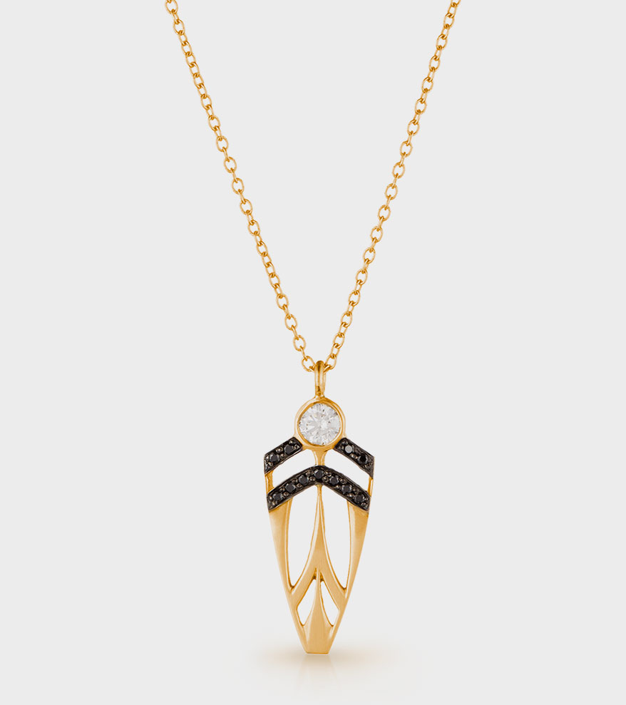 Halleh 18K yellow gold small Supernova Arrowhead necklace with black and white diamonds