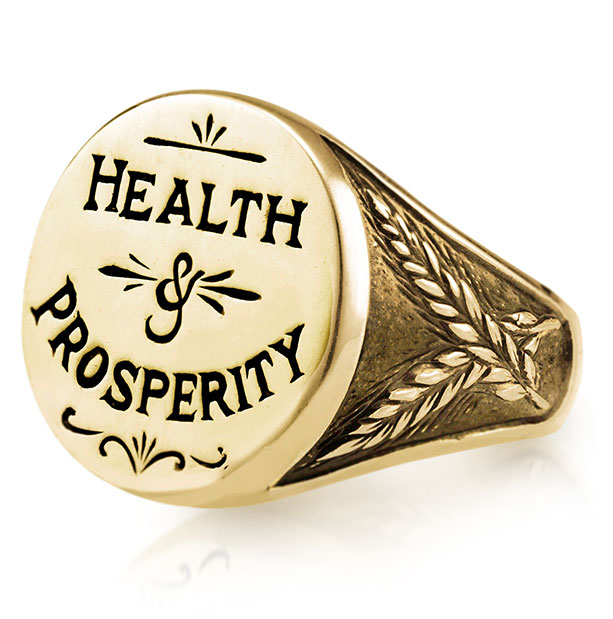 Heavenly Vices 14K yellow gold Health & Prosperity signet ring
