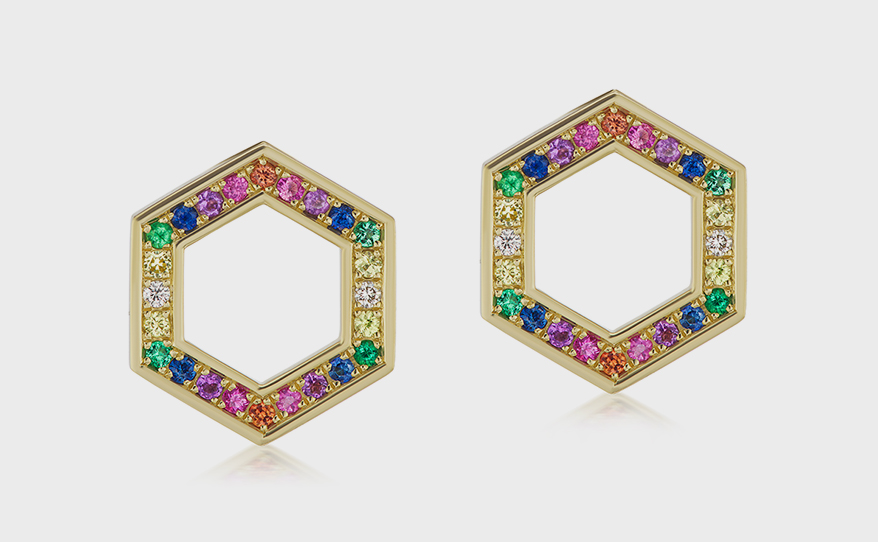 Harwell Godfrey 18K yellow gold earrings with sapphire and tsavorite