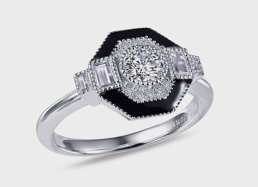Lafonn Platinum-bonded sterling silver ring with simulated diamonds and black enamel