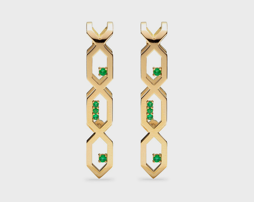 Noor Shamma 18K yellow gold earrings with emeralds
