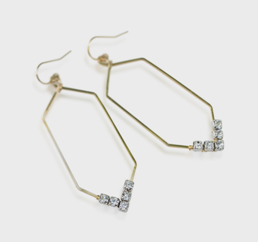 Rach B Jewelry 14K yellow gold fill earrings with rhinestones