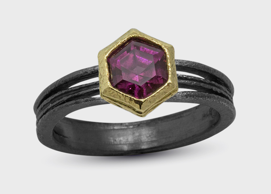 Rona Fisher Jewelry Oxidized silver and 18K yellow gold ring with rhodolite