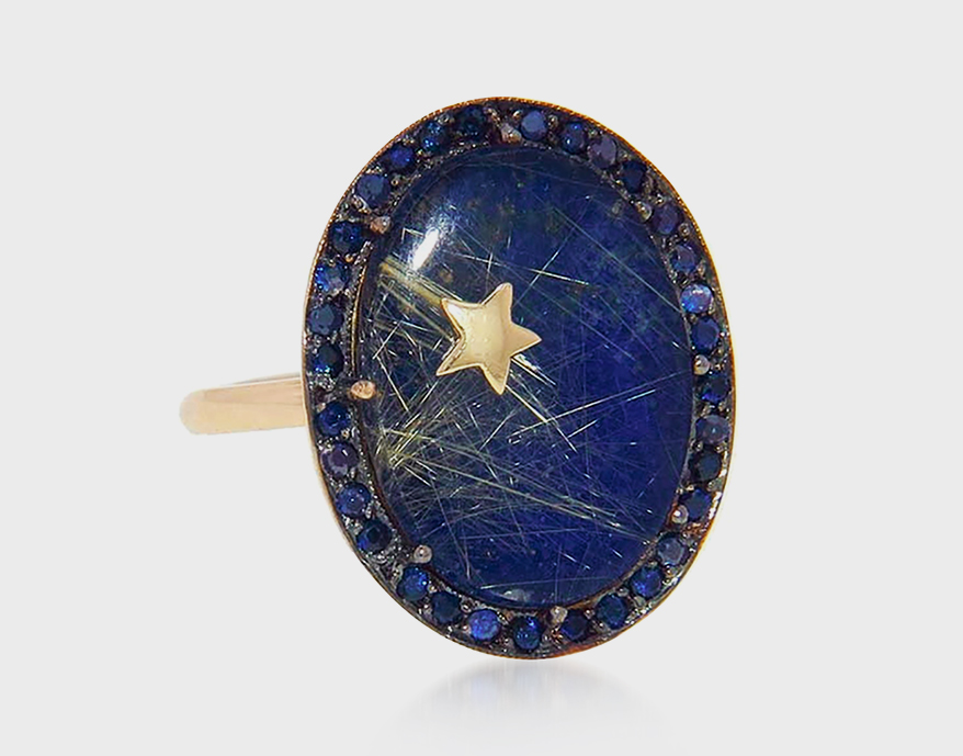 Andrea Fohrman 14K yellow gold lapis and rutilated quartz ring with blue sapphire and gold star