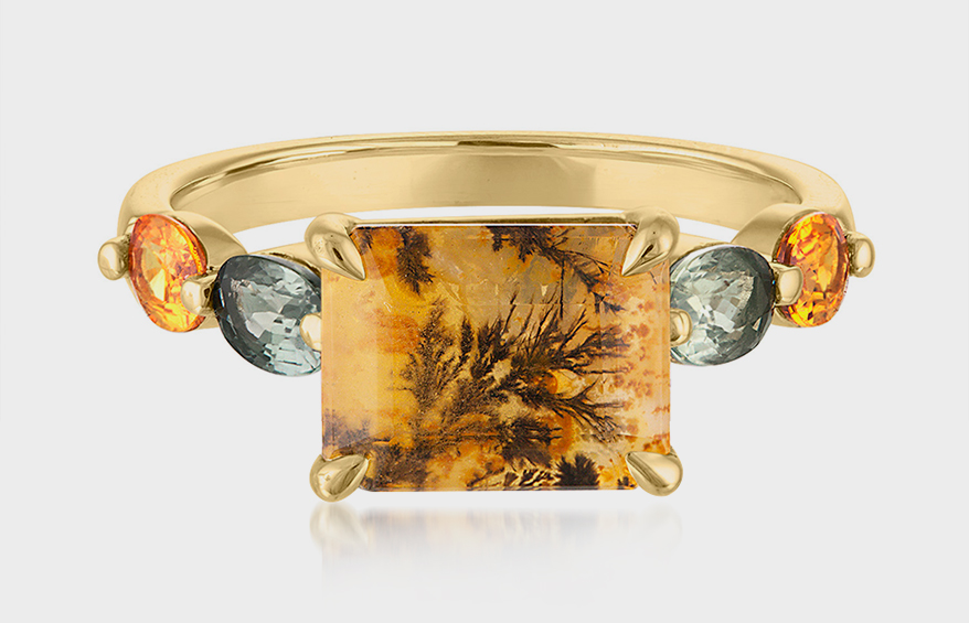 Avalina 18K yellow gold ring with dendritic quartz and sapphires
