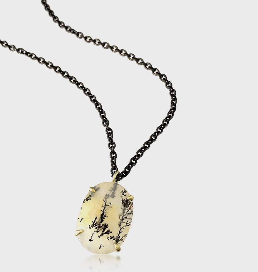 Judi Powers Jewelry 14K green gold pendant with dendritic quartz, blackened steel and 14K gold chain