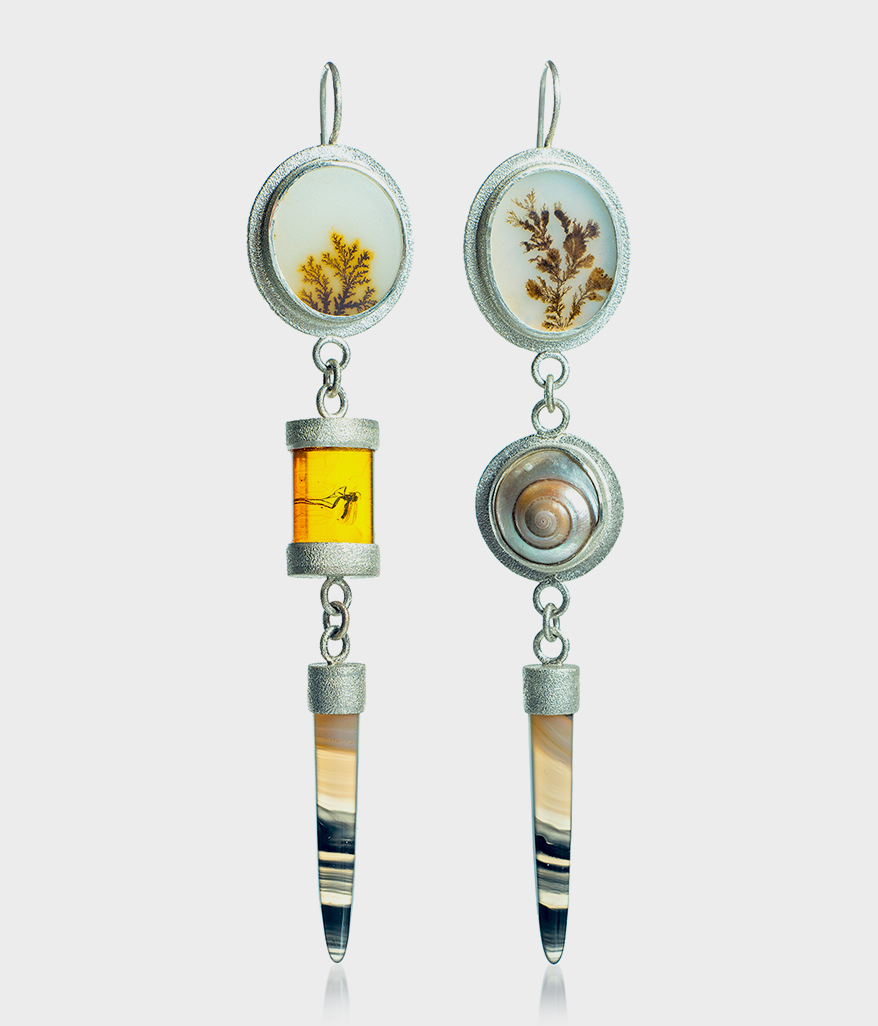 Sarah Nehama Sterling silver earrings with dendritic agate, banded agate, natural shell, and Baltic amber with a fly