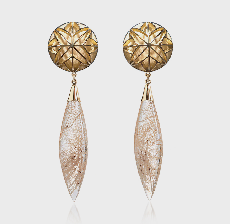 Valerie Jo Coulson 18K yellow gold earrings with rutilated quartz