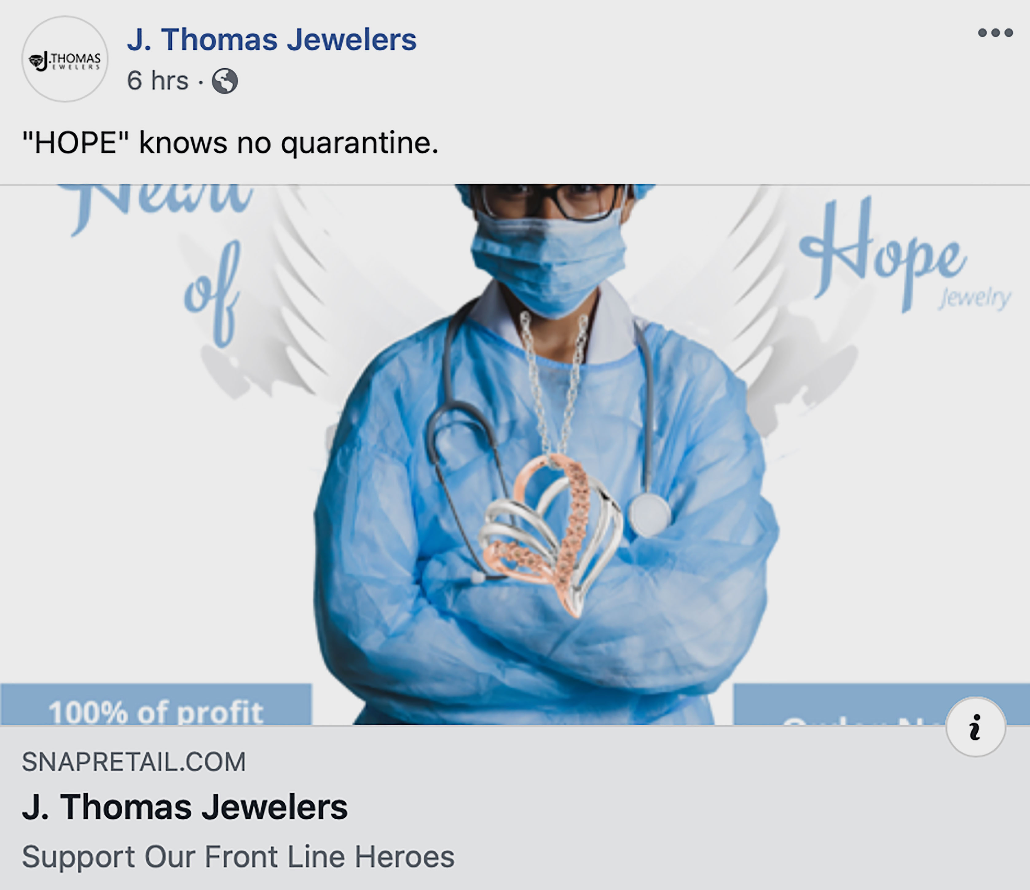 J. Thomas Jewelers heart of hope pendant