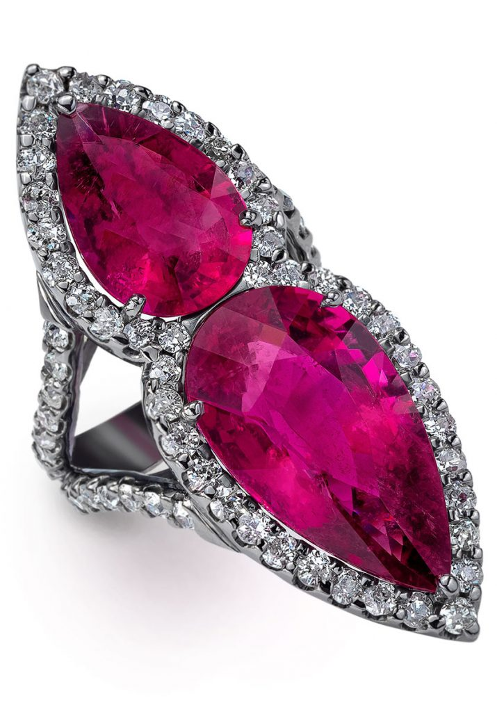 Mindi Mond New York Rubellite ring surrounded by old European and old mine cut diamonds