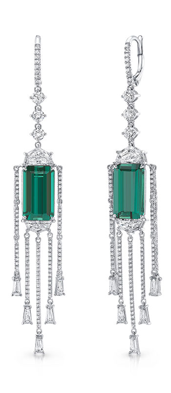 Uneek Jewelry Epaulette diamonds, long strands of diamonds, and droplets of baguettes with emerald-cut Indicolites in 18K white gold