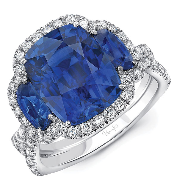 Uneek Jewelry cushion natural blue sapphire ring