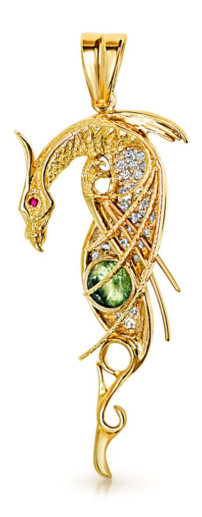 Quinn's Goldsmith mystical dragon pendant in 18K yellow gold by Terry Quinn