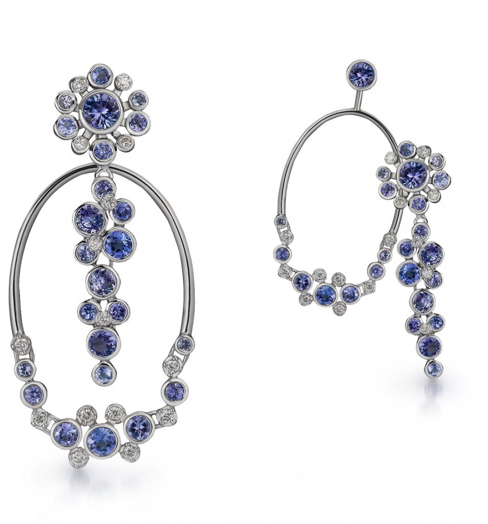Martha Seely Design post earring and jacket hoop in 14K white gold with tanzanite and diamonds with interchangeable components