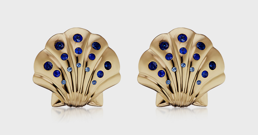 Brent Neale 18K yellow gold earrings with sapphire