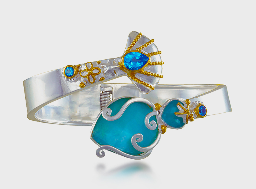 Michou Sterling silver and 22K yellow gold vermeil cuff with amazonite, mother of pearl, quartz, and topaz