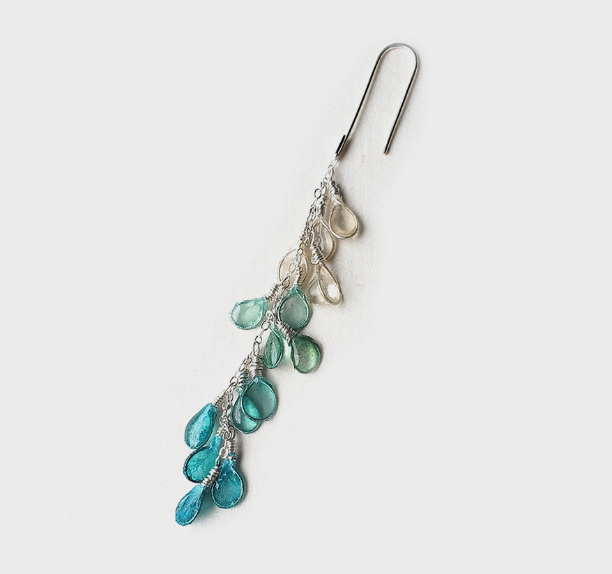 Verso Sterling silver earrings with hand-dyed, resin-coated paper