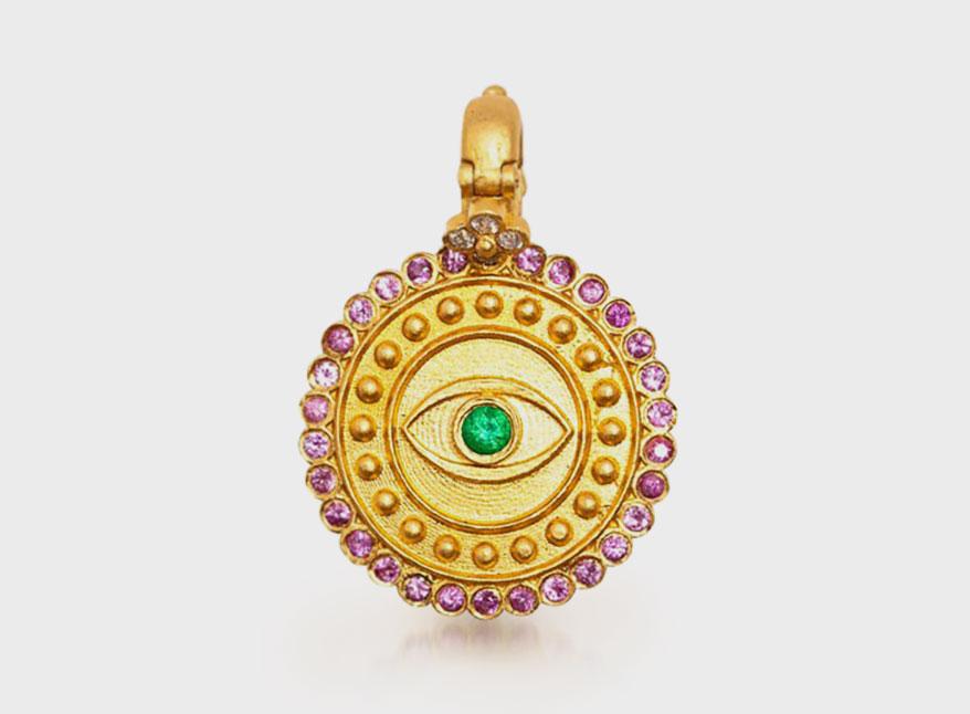 Orly Marcel 22K gold evil eye pendant