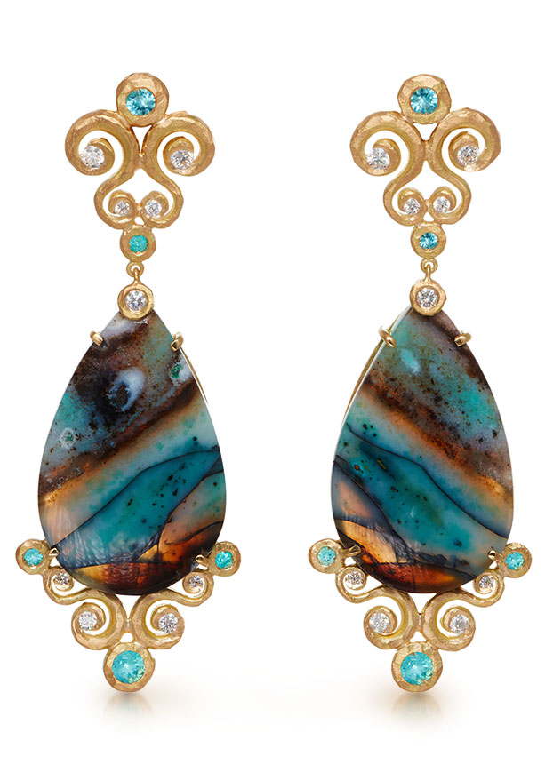 Pamela Froman 18K yellow gold earrings with pear shape Indonesian petrified blue opal wood, diamonds and Paraiba tourmalines
