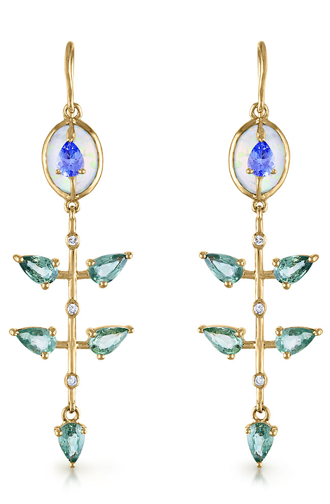 Loriann Jewelry linear earrings with Ethiopian opal layered with tanzanite and green sapphires with diamonds set in 14K gold