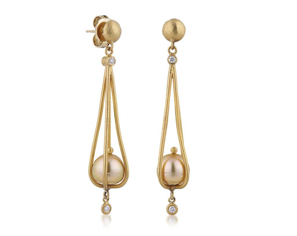 Lika Behar golden pearl drop earrings