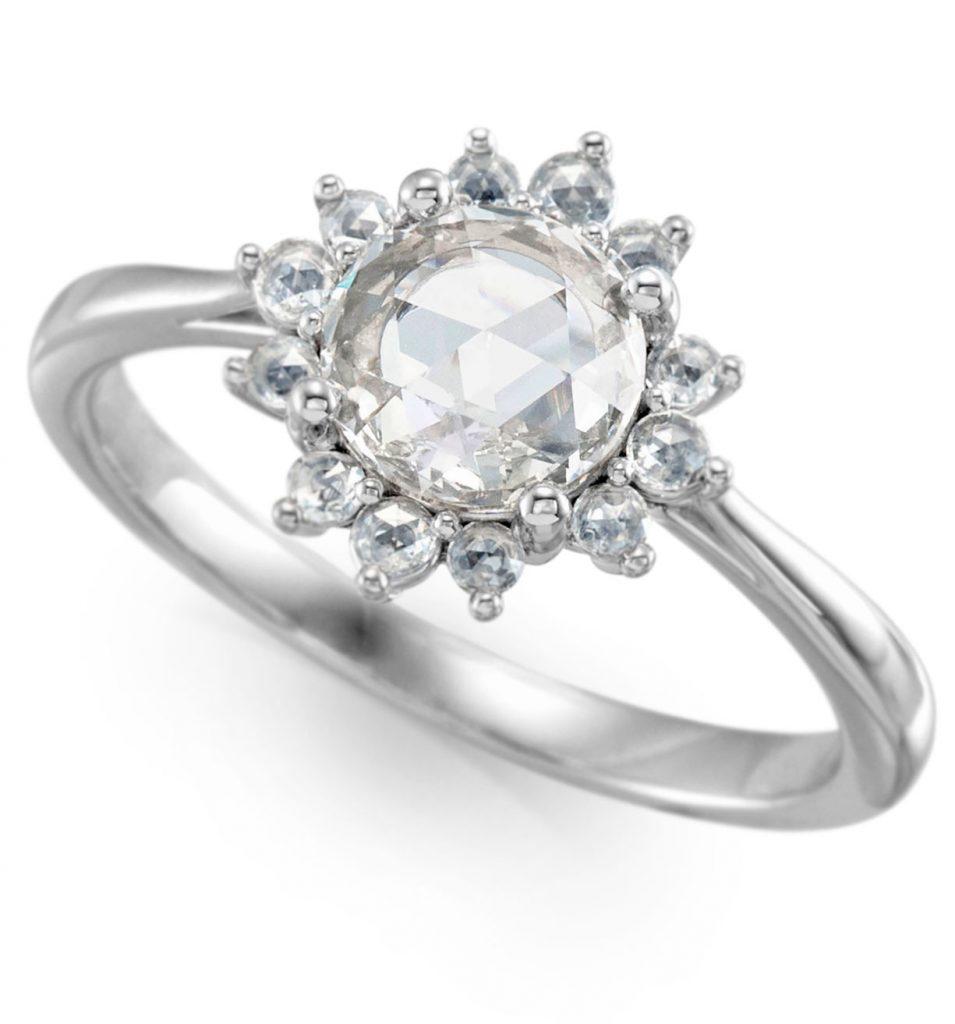 Stuller 14K white gold diamond rose cut semi-set engagement ring