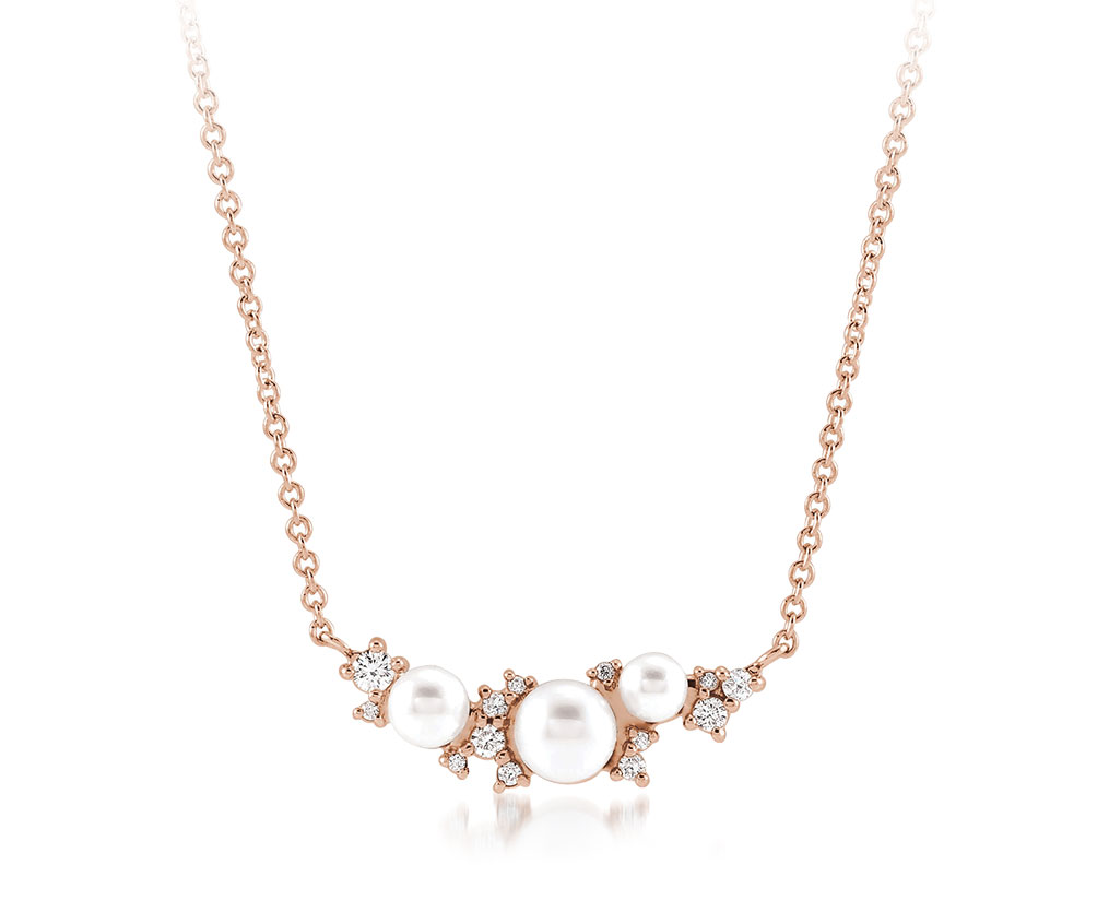 14K rose gold Akoya cultured pearl and diamond necklace