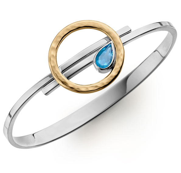 E.L. Designs Sterling silver and 14K gold with pear-shaped blue topaz