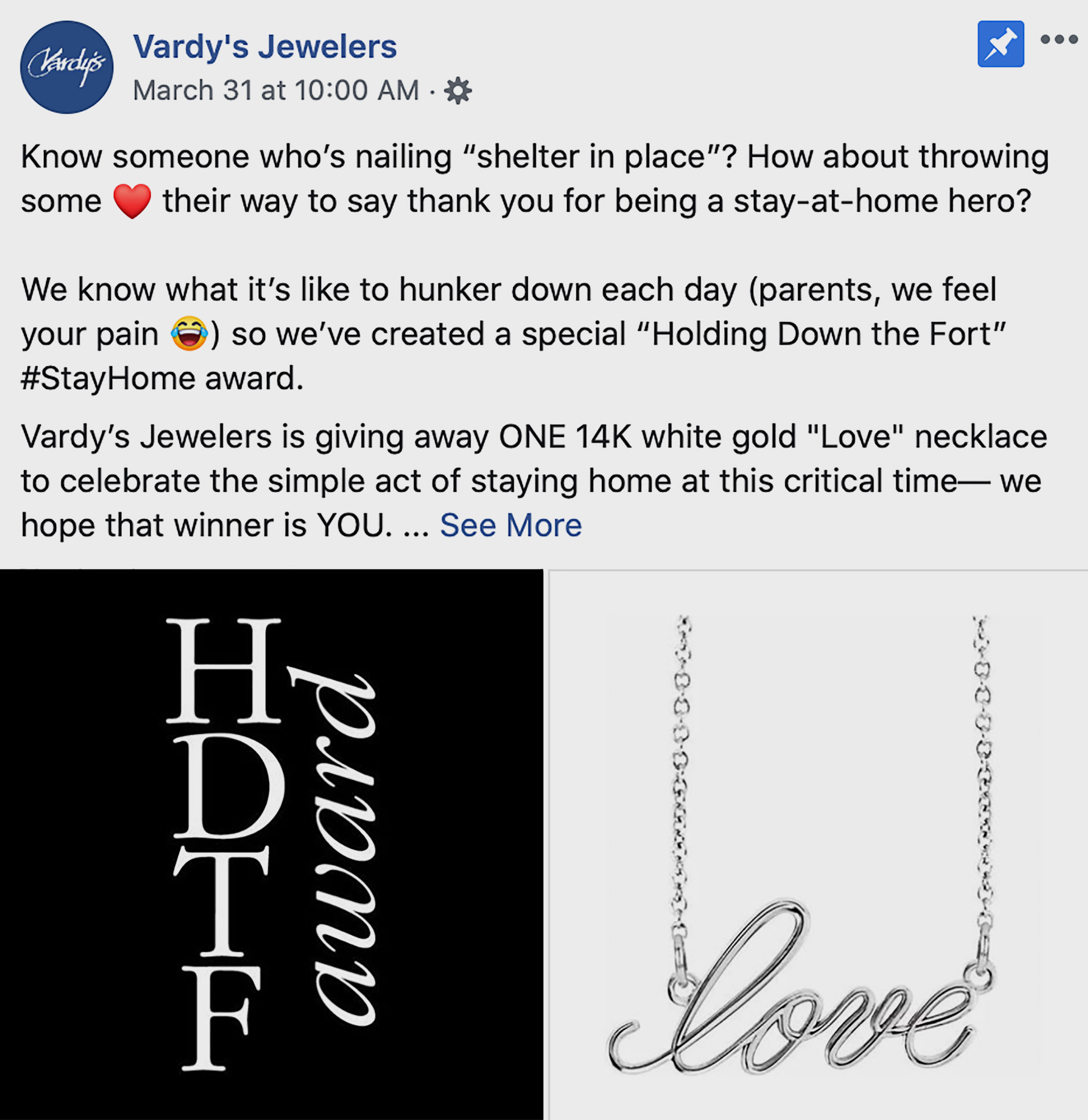 Vardy's Jewelers #StayHome award