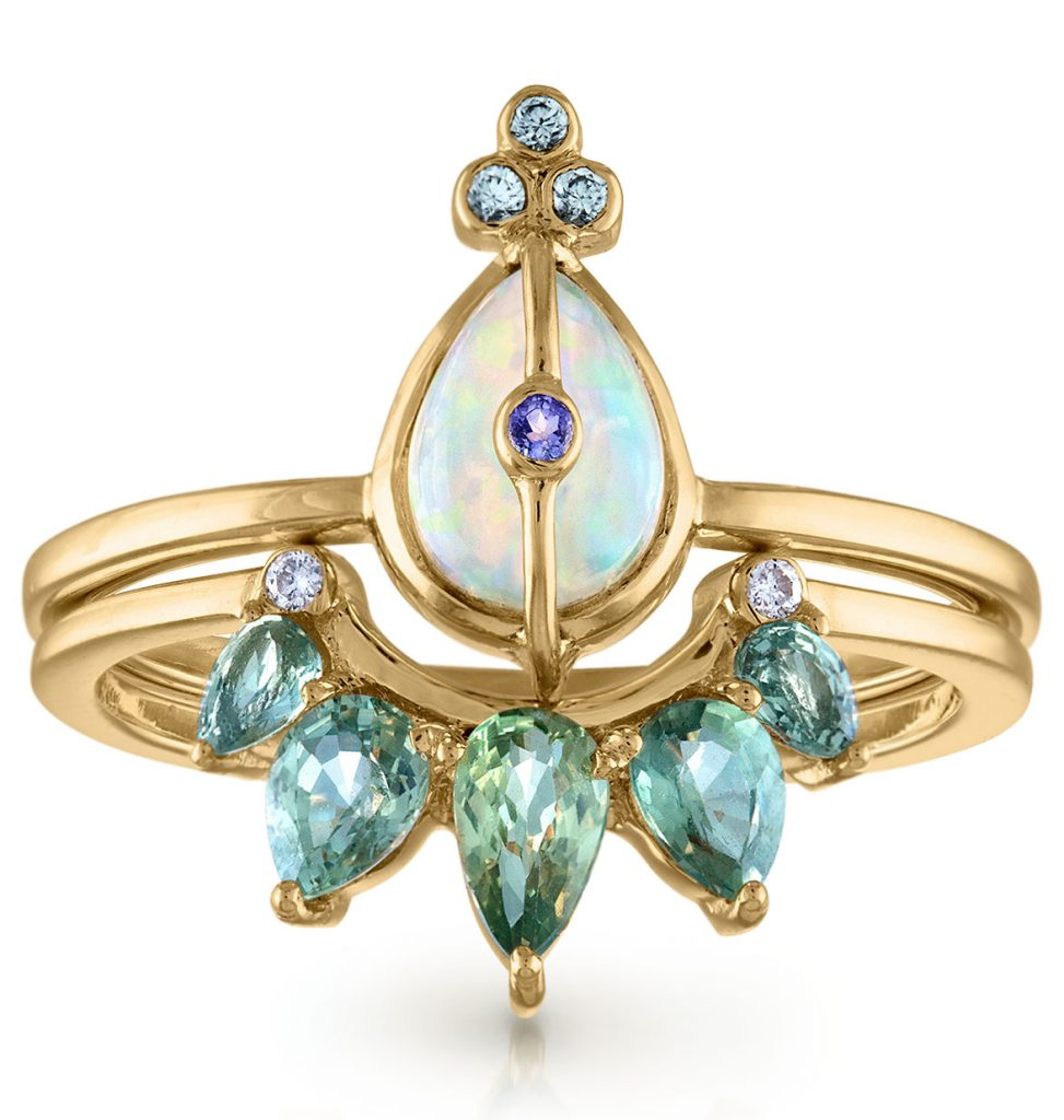 Loriann Jewelry stacking rings with petite ring featuring Ethiopian opal