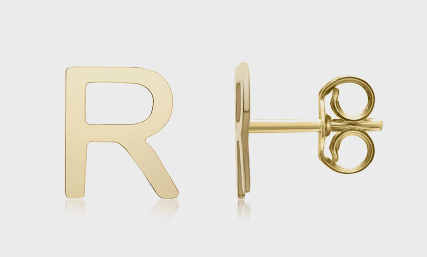 Royal Chain 14K yellow gold stud earrings.