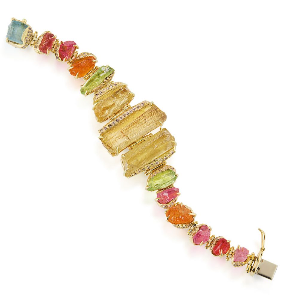 Debra Navarro hinged bracelet with 14 natural tenda-cut East African gemstones and 108 sand pavé diamond accents, hand-set in 18K recycled yellow gold with hidden box closure
