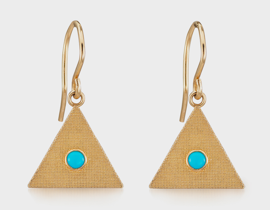 Alice Pierre 14K gold earrings with turquoise.