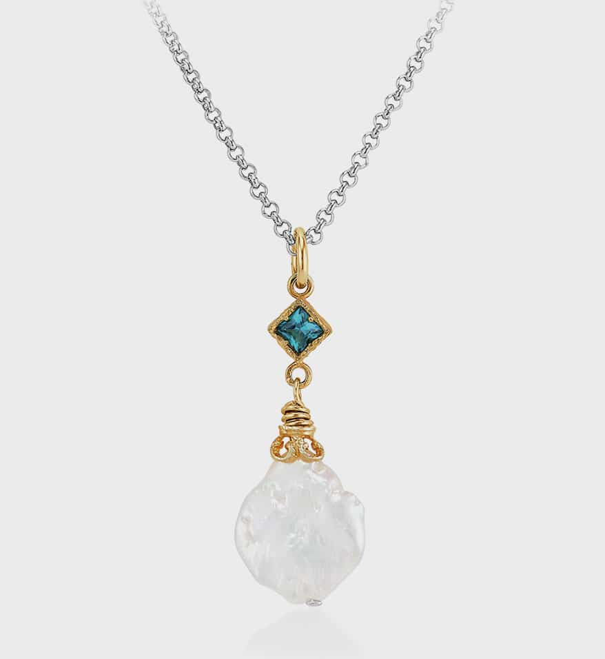 Anatoli Jewelryry necklace in sterling silver with 18k gold vermeil and keshi pearl drop