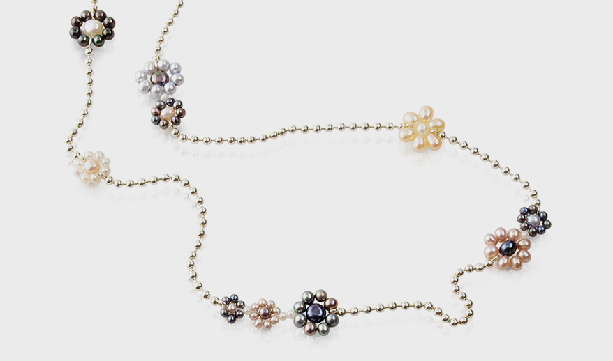 Carolina Cole sterling silver necklace with freshwater pearls.